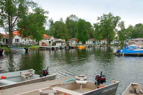 The marina at Golden Beach Resort on Rice Lake.