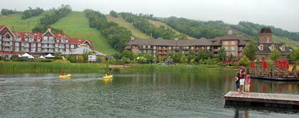 The resort spreads out at the bottom of the ski hill.