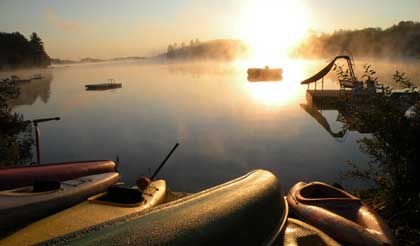 Sunrise from the dock at Beauview Cottage Resort