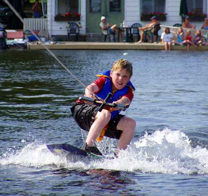 Wakeboarding at Scotsman Point Resort on Buckhorn Lake