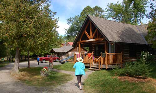 One of the log cabins at Cedar Grove Lodge