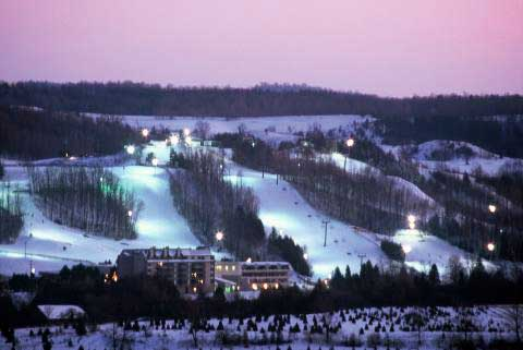 evening shot of the skihill at Hockley Valley Resort, Ontario