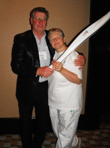 Anne carrying her Olympic Torch