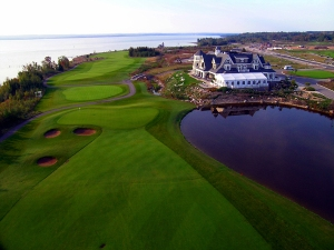 a-Clubhouse 9th and 18th holes from air