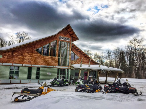 Snowmobiles at Elk Lake Eco Centre. Photo: Casey Cordeiro